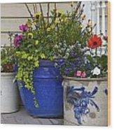Porch Flowers Wood Print by Steve and Sharon Smith