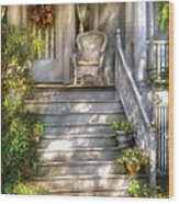 Porch - Westfield Nj - Grannies Porch  Wood Print by Mike Savad