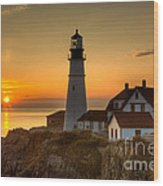 Portland Head Light At Sunrise II Wood Print by Clarence Holmes