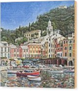 Portofino Italy Wood Print by Mike Rabe
