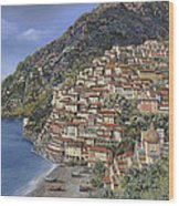 Positano E La Torre Clavel Wood Print by Guido Borelli
