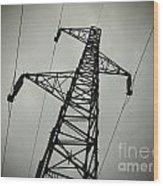 Power Pole Wood Print by Bernard Jaubert