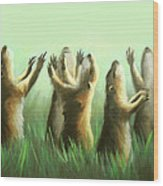 Praising Prairie Dogs Wood Print by Anthony Falbo