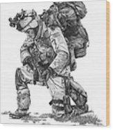 Praying  Soldier  Wood Print by Murphy Elliott