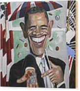 President Barock Obama Change Wood Print by Anthony Falbo