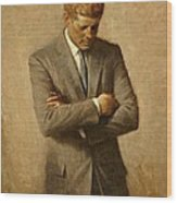 President John F. Kennedy Official Portrait By Aaron Shikler Wood Print by Movie Poster Prints