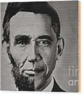 President Obama Meets President Lincoln Wood Print by Doc Braham
