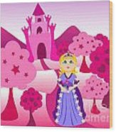 Princess And Pink Castle Landscape Wood Print by Sylvie Bouchard