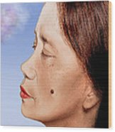 Profile Of A Filipina Beauty With A Mole On Her Cheek Altered Version Wood Print by Jim Fitzpatrick