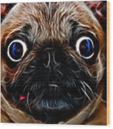 Pug Dog - Electric Wood Print by Wingsdomain Art and Photography