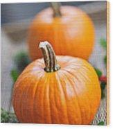 Pumpkins Wood Print by Elena Elisseeva