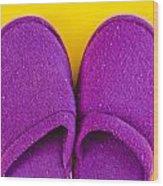 Purple Slippers Wood Print by Tom Gowanlock