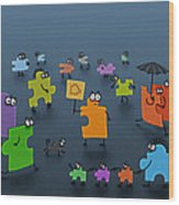 Puzzle Family Wood Print by Gianfranco Weiss