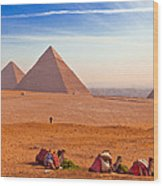 Pyramids And Camels Wood Print by Matthew Bamberg