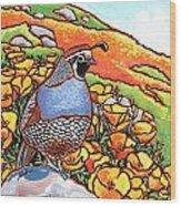 Quail Poppies Wood Print by Nadi Spencer