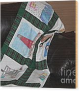 Quilt Newfoundland Tartan Green Posts Wood Print by Barbara Griffin