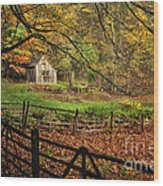 Quintessential Rustic Shack- A New England Autumn Scenic Wood Print by Thomas Schoeller