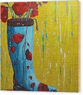 Rain Boot Series Unusual Flower Pots Wood Print by Patricia Awapara