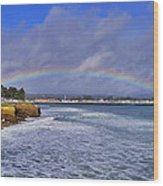 Rainbow Over Santa Cruz Wood Print by Randy Straka