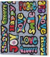 Rainbow Text Wood Print by Tim Gainey