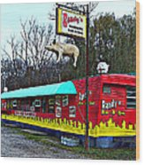 Randy's Roadside Bar-b-que Wood Print by MJ Olsen