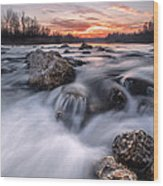 Rapids On Sunset Wood Print by Davorin Mance