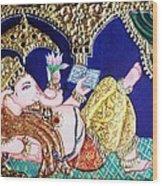 Reading Ganesha Wood Print by Jayashree