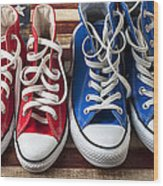 Red And Blue Tennis Shoes Wood Print by Garry Gay