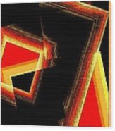 Red And Yellow Geometric Design Wood Print by Mario Perez