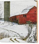 Red Barn In Snow Wood Print by John Haldane