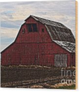 Red Barn Photoart Wood Print by Debbie Portwood
