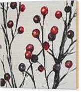 Red Berry Study Wood Print by Rebekah Reed