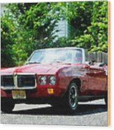 Red Firebird Convertible Wood Print by Susan Savad