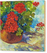 Red Geraniums I Wood Print by Peggy Wilson