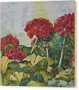 Red Geraniums Wood Print by Patsy Sharpe