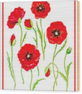 Red Poppies Wood Print by Irina Sztukowski