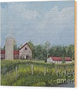 Red Roof Barns Wood Print by Reb Frost