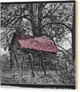 Red Roof Wood Print by Debra and Dave Vanderlaan