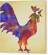 Red Rooster Art Wood Print by Christina Rollo