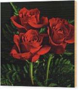 Red Roses Wood Print by Sandy Keeton