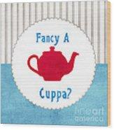 Red Teapot Wood Print by Linda Woods