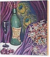 Red Wine And Peacock Feathers Wood Print by Caroline Street