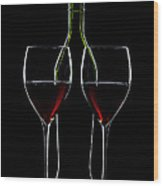 Red Wine Bottle And Wineglasses Silhouette Wood Print by Alex Sukonkin