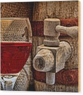 Red Wine With Tapped Keg Wood Print by Tom Mc Nemar