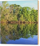 Reflections On The River Wood Print by Debra Forand