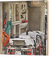 Rescue - Inside The Ambulance Wood Print by Mike Savad