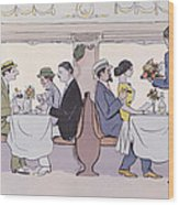 Restaurant Car In The Paris To Nice Train Wood Print by Sem