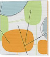 Retro Abstract In Orange And Green Wood Print by Karyn Lewis Bonfiglio