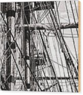 Rigging Wood Print by Olivier Le Queinec