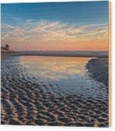Ripples In The Sand Wood Print by Debra and Dave Vanderlaan
